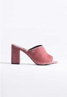 Sadie Velvet Block Heel Mules Dusty Pink